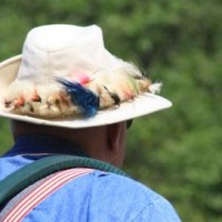 Colorful flys decorated Ed Meyer's hat.