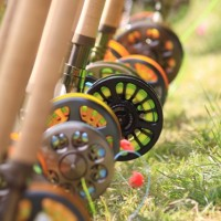 The colorful lines and numerous rods begged to be tested on the water.